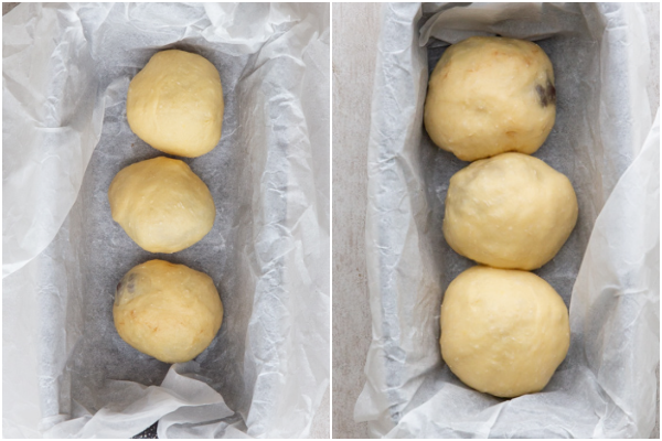 dough before and after rising in a loaf pan