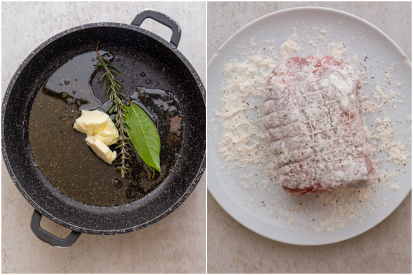 the herbs, butter and oil in a pan the meat dredged in flour