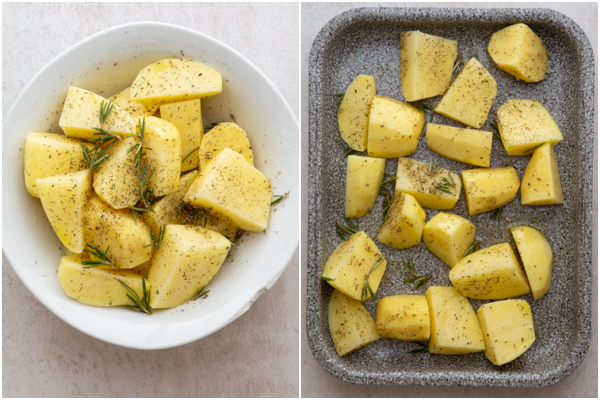 the potatoes in a white bowl and in the pan before cooked