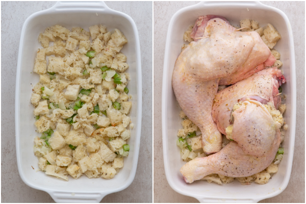 placing the stuffing and chicken in the pan before baking