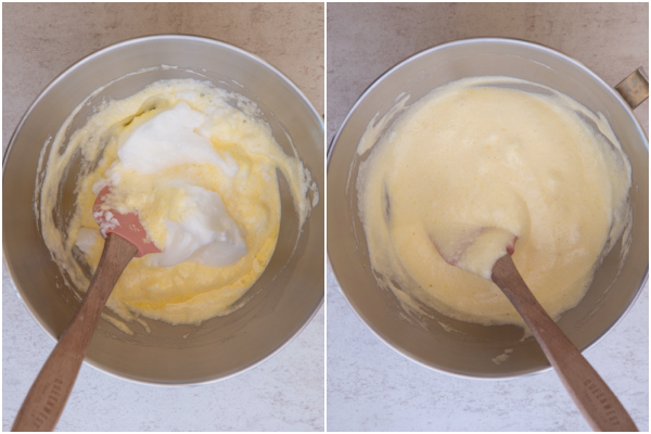 adding the egg whites to the yolk mixture