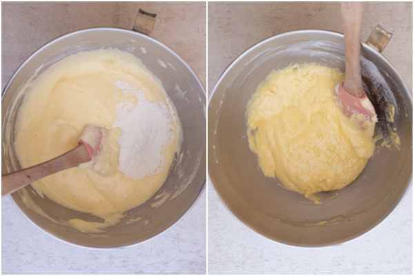 adding the sifted dry ingredients to the egg mixture