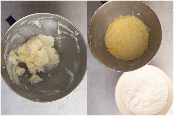 beating the butter and sugars adding the egg and vanilla & whisked dry ingredients in a white bowl
