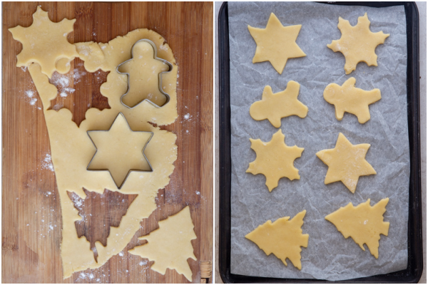 rolling the dough and cutting with cookie cutters
