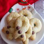 twisted cookies on a snowman dish