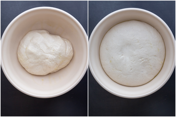 dough before and after rising in a bowl