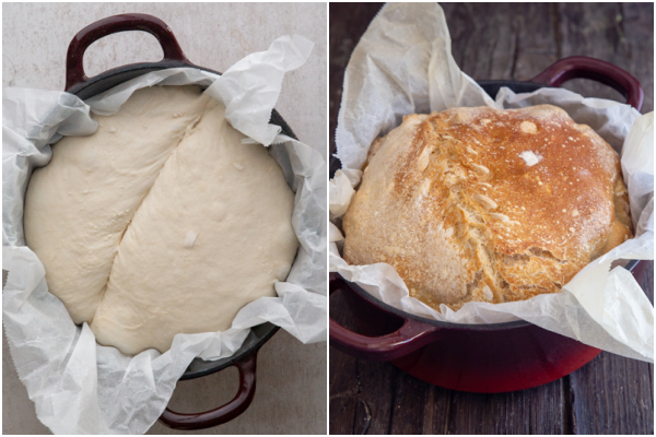 dough before and after baking in a dutch oven