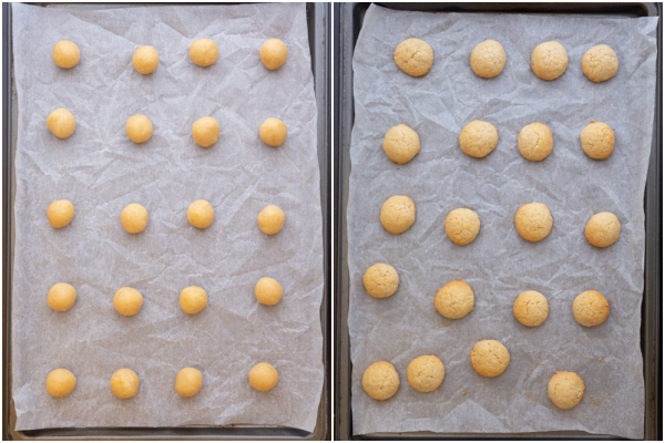cookies formed before and after baking