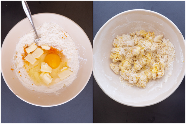mixing the dough before and after in a white bowl
