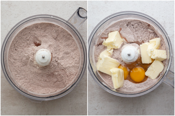dry ingredients in a food processor and eggs & butter added