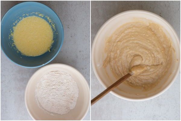 dry ingredients in a bowl egg mixture beaten in a bowl and the ingredients combined