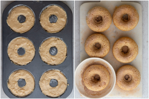 placing the batter in the donut pan before and after baking