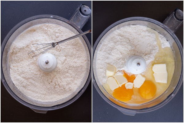 dry ingredients whisked in food processor and egg and butter added