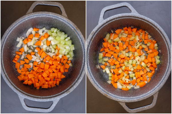 the chopped veggies in a pot before and after sauteed