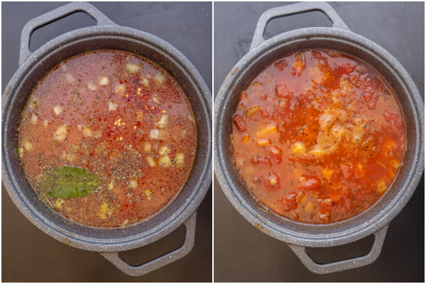 the soup before and after 30 minutes cooked