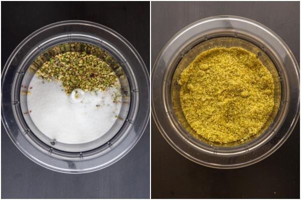 ground pistachios & sugar in a blender blended until fine