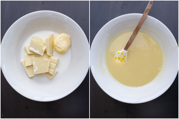 chocolate butter & milk in a bowl the melted ingredients in a white bowl with a small spatula