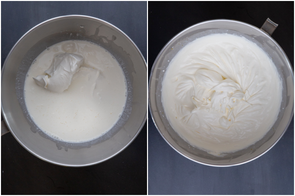 making the mascarpone before and after beaten until thick