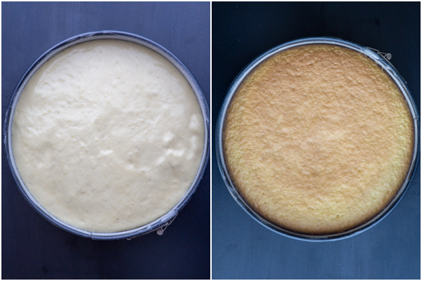cake before and after baked in cake pan