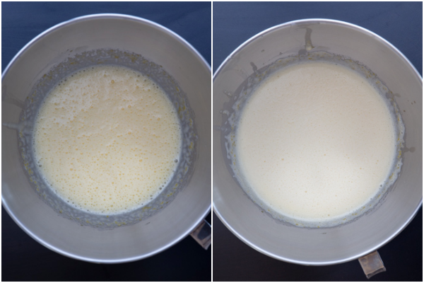 eggs & sugar beaten and cream added and beaten in a mixing bowl