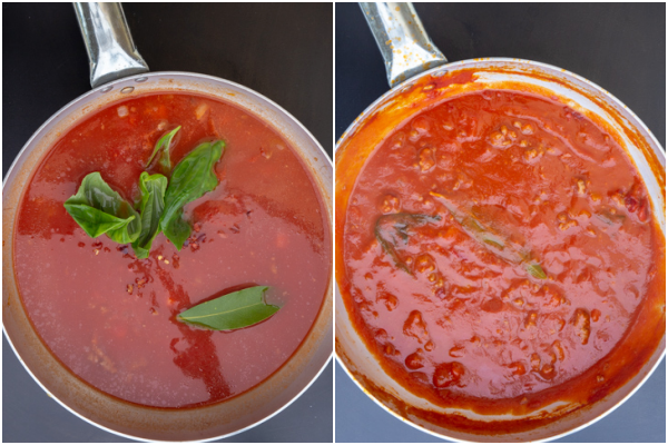 the tomato puree and spices added, before and after cooked