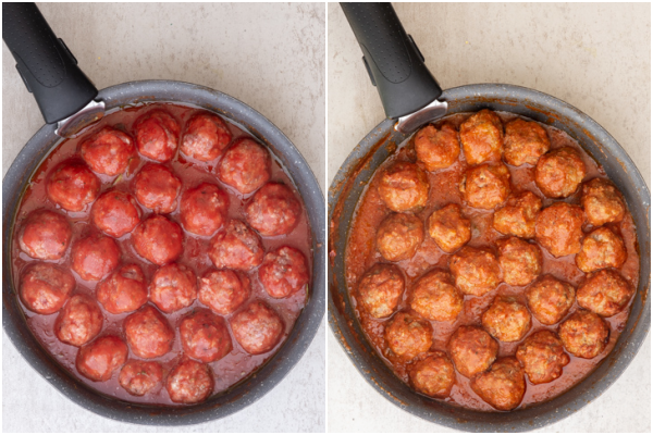 meatballs before and after cooked