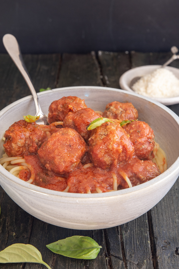 meatballs in a white bowl