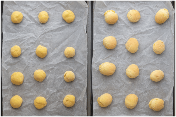 dough balls on a parchment paper lined cookie sheet before and after baking