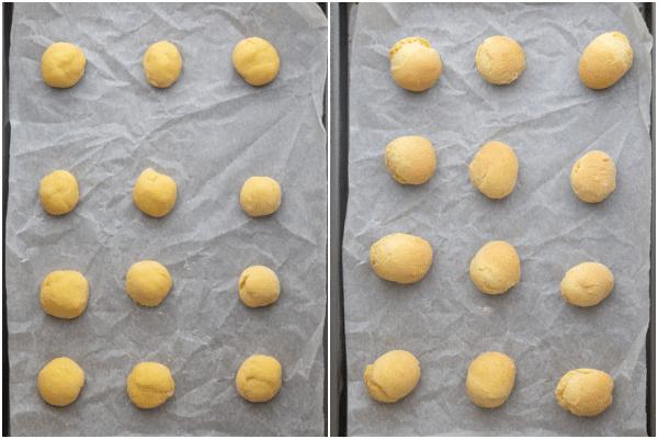 चमड़े के कागज पर आटा गेंदों को पकाने से पहले और बाद में पंक्तिबद्ध कुकी शीट