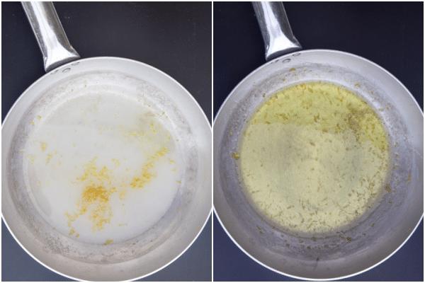 एक चांदी के फ्राइंग पैन में चीनी और नींबू का मिश्रण बनाते हैं
