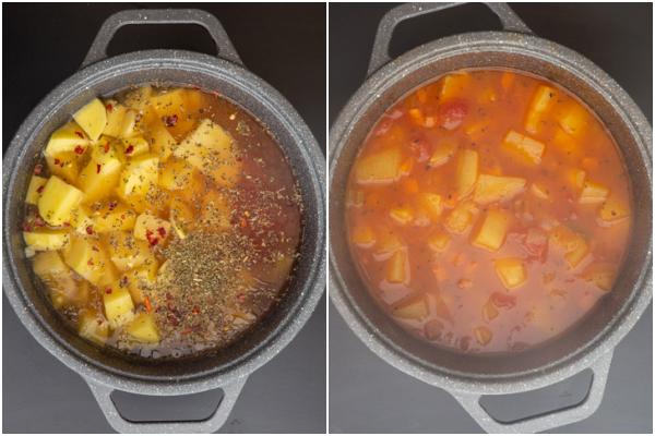 शेष सामग्री को सब्जियों में जोड़ा जाता है और आलू के निविदा होने तक एक काले बर्तन में पकाया जाता है