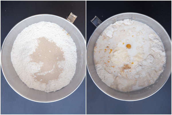 mixing the dry ingredients in a bowl and the egg & milk added