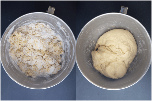 the dough just mixed, the dough knead until smooth.