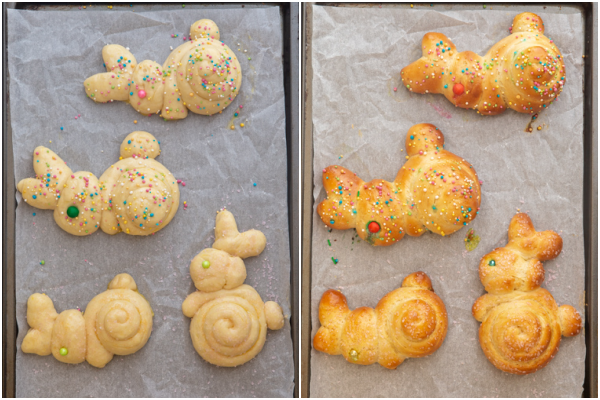 The bread brushed with egg wash and sprinkled with nonpareils before and after baked.