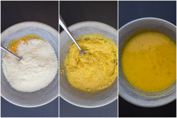mixing the egg yolks with the pecorino and pasta water in a grey bowl