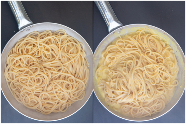 adding the pasta to the pan with the egg yolk mixture