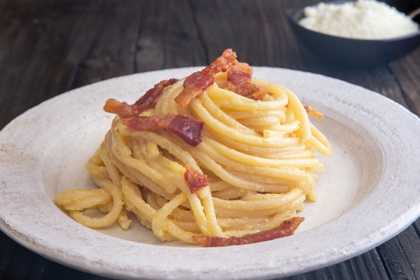 carbonara on a white plate