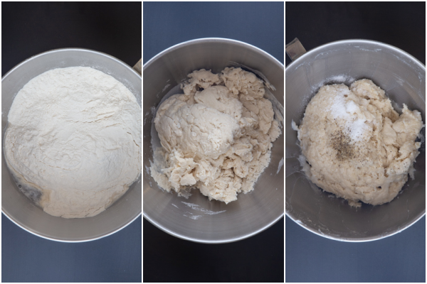adding the flour and lard and making the dough