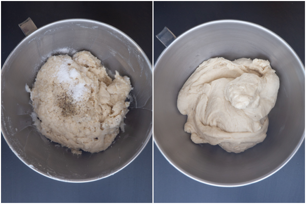adding the remaining lard and kneading to form a dough