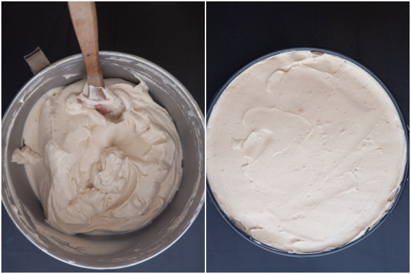 whipped cream and cream cheese mixture folded together in mixing bowl and added to the cake pan