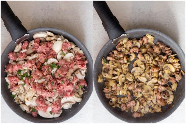 पकाने से पहले और बाद में एक पैन में मशरूम, तेल और सॉसेज मांस