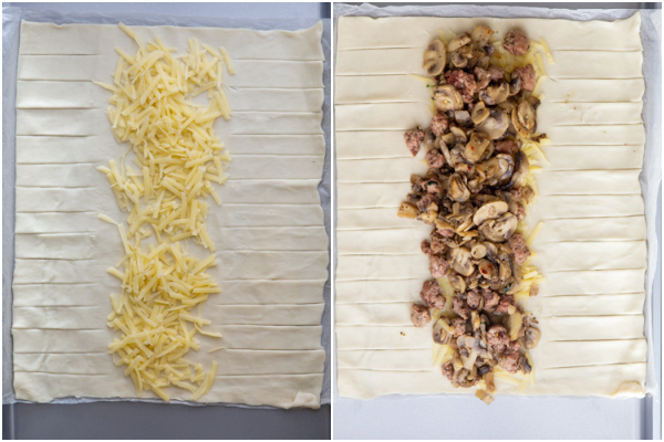 पेस्ट्री को रोल करके, स्ट्रिप्स में काट लें और पनीर और मशरूम भरने को जोड़ें