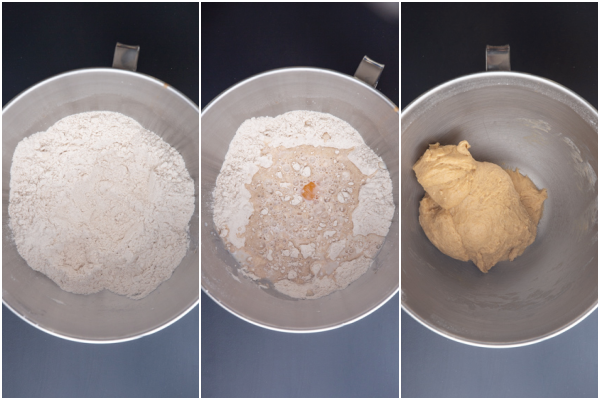 whisked dry ingredients, adding the egg & yeast mixture and kneaded to form a dough in a silver mixing bowl