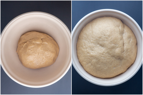 dough in a white bowl before and after rising