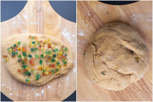 adding the candied fruit and bread kneaded