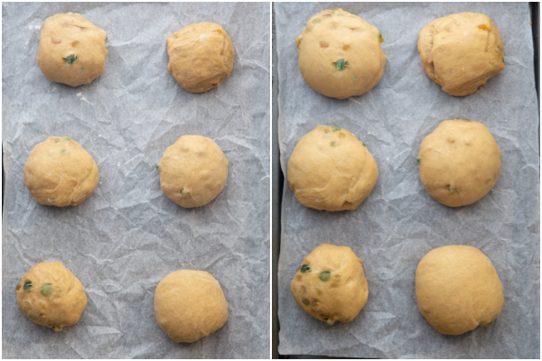 buns formed on a parchment paper lined cookie sheet before and after rising