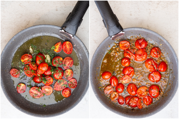 The oil, garlic and tomatoes in the pan before and after cooking.