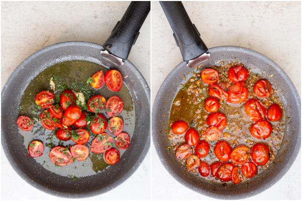 पैन में तेल, लहसुन और टमाटर पकाने से पहले और बाद में।
