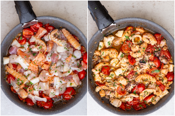 Adding the seafood to the pan before and after cooking.