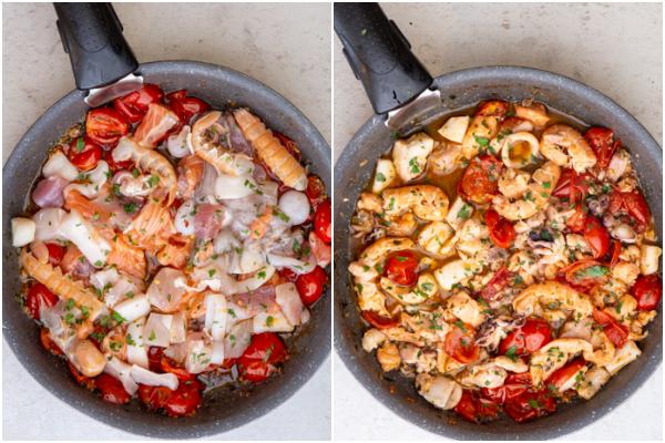 पकाने से पहले और बाद में पैन में समुद्री भोजन जोड़ें।